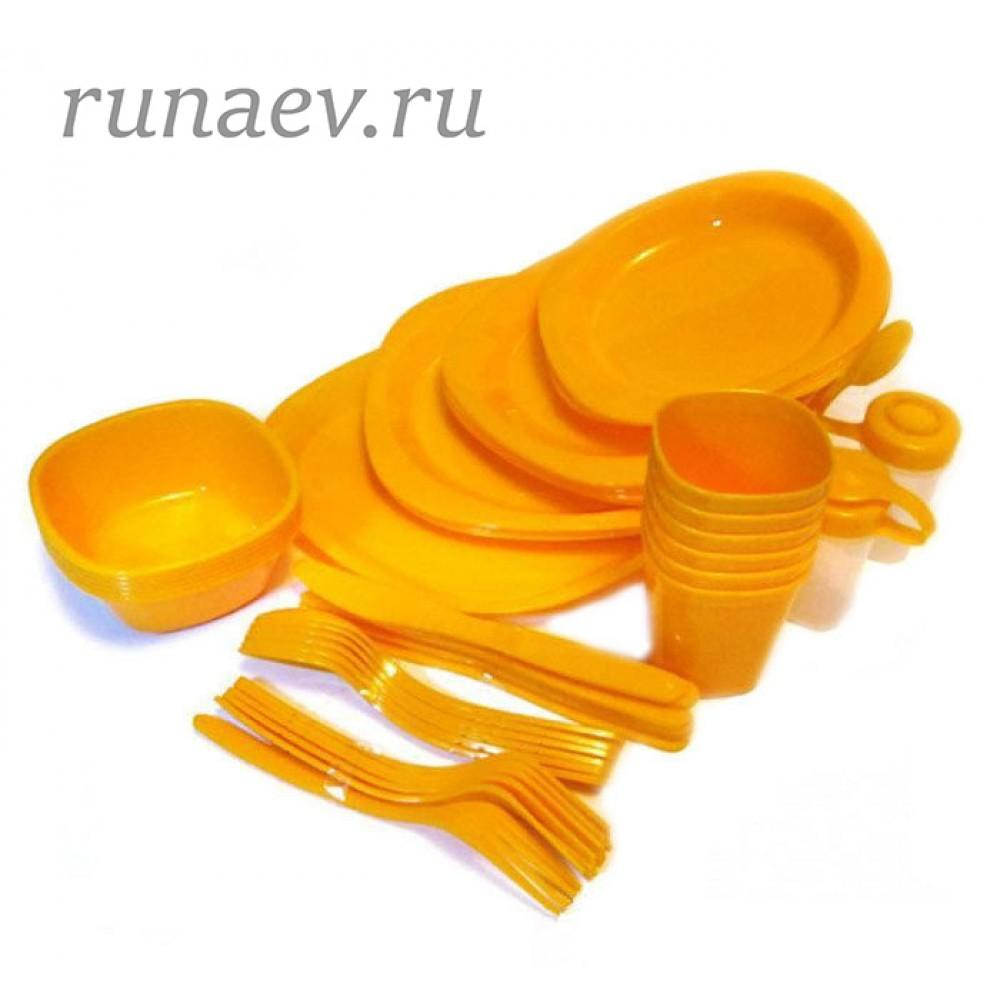 Набор посуды походный (48 предметов, пластик)
